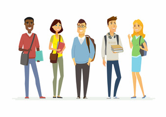 Happy senior school students - cartoon people characters isolated illustration