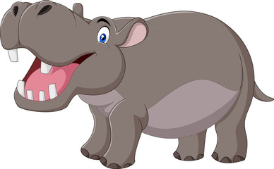Cartoon smiling hippo isolated on white background