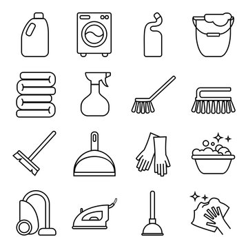 set of isolated cleaning icon. White background.