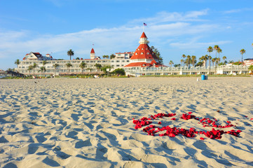 View from the beach of the historic Hotel del Coronado,San Diego, California.