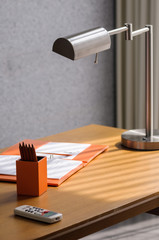 Decorated minimal office working corner in modern style