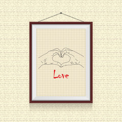 Hand makes love photo frame on the wall - background template