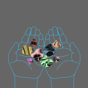 Hands holding colorful gemstones