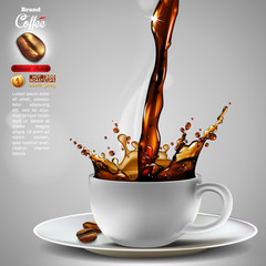 Coffee advertising design with a splash effect,  high detailed realistic illustration