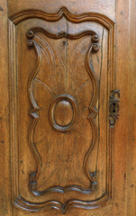 Wood panel background with carved detail