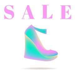 Sale shoes. Advertising. Discounts. Shopping. Women's shoes. The announcement. Score. Vector illustration. Background. Fashion.