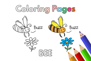 Cartoon Bee Coloring Book