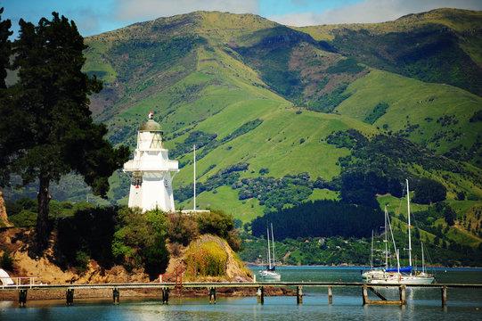 Coast and french village of Akaroa,New Zealand.