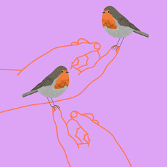 Hands holding red robin birds on their fingertips