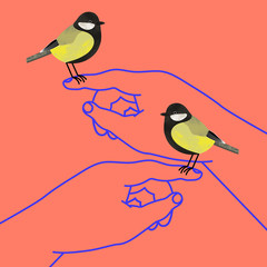 Hands holding great tit birds on their fingertips