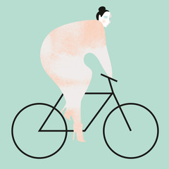 A woman wearing heals riding a bike