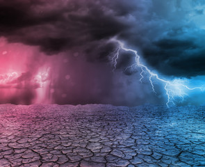 Storm and thunder in desert