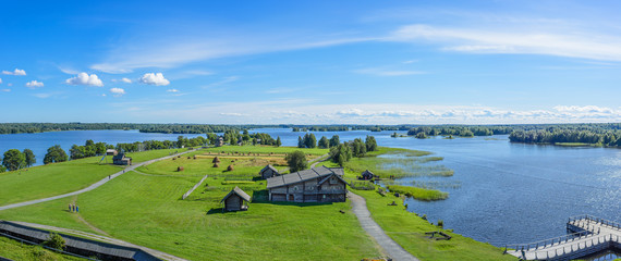 Panorama of Kizhi Island from the bell tower. Onega lake, Karelia, Russia.