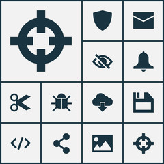 User Icons Set. Collection Of Goal, Safe, Siren And Other Elements. Also Includes Symbols Such As Floppy, Light, Storage.