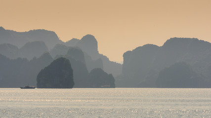 Nature and rocks of the Halong Bay, Indochina sea, Vietnam. UNESCO World Heritage