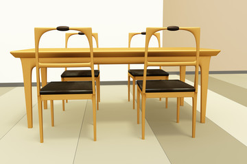 Table set of solid wood, 3d illustration