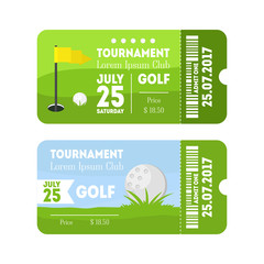 Golf Sport Ticket Set. Vector