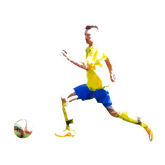 Soccer player, abstract geometric vector silhouette