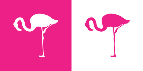 Icono plano flamingo agachado blanco y rosa