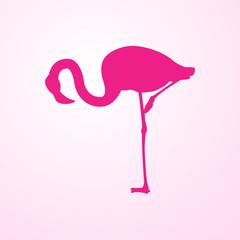 Icono plano flamingo agachado en fondo degradado rosa