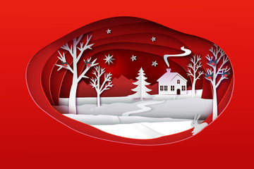Christmas paper art. Red tone vector illustration. Ellipse paper cut layers with winter forest. White nature with house, trees, hare, stars, bulfinch's and christmas tree. Holidays banner