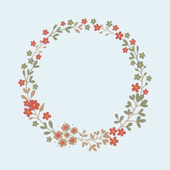 Floral wreath in vector.