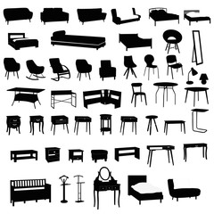Set of house furniture silhouettes