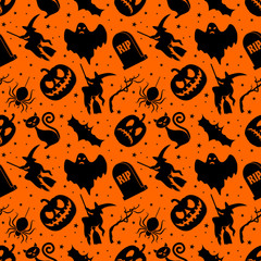 Door stickers Halloween Halloween seamless pattern