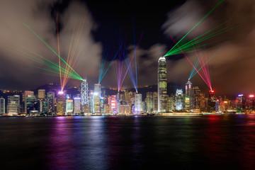 Beautiful laser show scenery of Victoria harbor, Hong Kong Wall mural