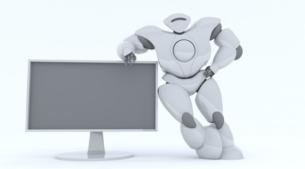 3D rendering futuristic robot show screen