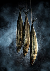 Foto auf AluDibond Fisch Mackerel in the smokehouse. Fresh fish in the smoke