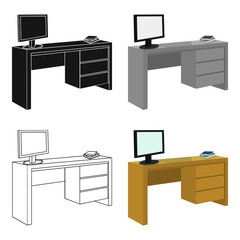 A desk with a computer and books. Furniture and interior single icon in cartoon style Isometric vector symbol stock illustration web.