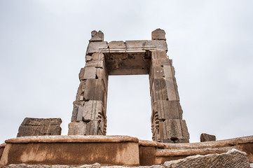 Gate into the 100 colums hall in the ancient city of Persepolis, Iran. UNESCO World heritage site