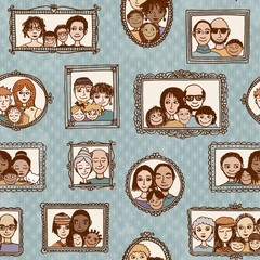 Seamless pattern of cute family pictures hanging on the wall