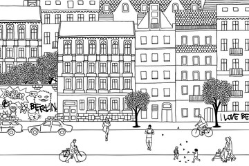 People walking through Berlin- Hand drawn urban black and white scene