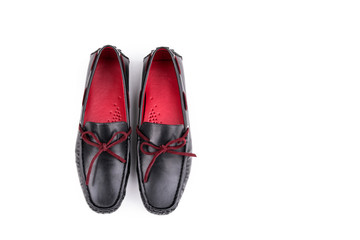 Stylish Red and black leather loafers shoes pair isolated on white background from top
