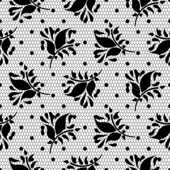 Lace floral vector black seamless pattern. Abstract leaves ornament veil dotted texture.