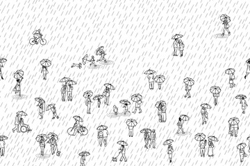 Black and white banner with tiny pedestrians with umbrellas in the rain, can be tiled horizontally