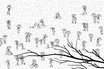 Tiny people with umbrellas and tree branch in the foreground: pedestrians in the street, a diverse collection of small hand drawn men, women and kids walking through the rain