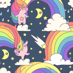 vector seamless pattern. Unicorns time concept. 034