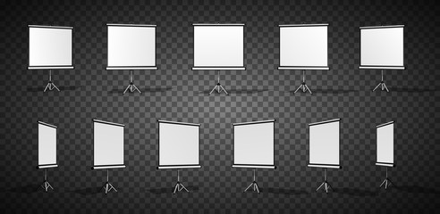 Set of Horizontal screen for a projector or an advertising banner. Different angles. Isolated on transparent background.