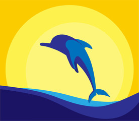 Coloured vector illustration of dolphin