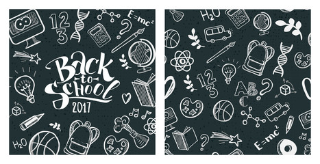 Back to school concept. Hand drawn typography and pattern. Vector illustration. Chalkboard background. Education doodle icons.