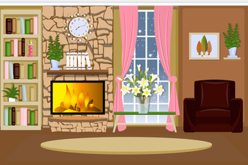 The interior of the living room. Cozy room with a fireplace. Furniture for the home. Cartoon. Vector.