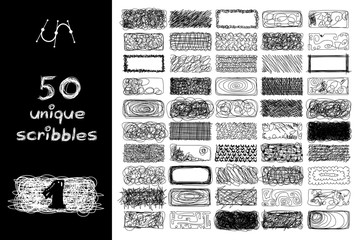vector SET 50 rectangle SCRIBBLES Part 1. Clip art isolated on transparent background.