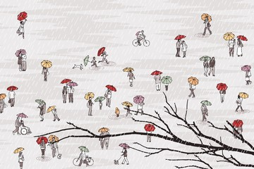 Tiny grey people with colorful umbrellas and tree branch in the foreground: pedestrians in the street, a diverse collection of small hand drawn men, women and kids walking through the rain