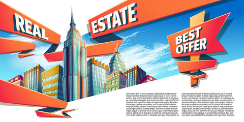 Vector cartoon illustration, banner, day urban background with modern big city buildings, skyscrapers, business centers and space for your text. Advertising banner for a real estate agency