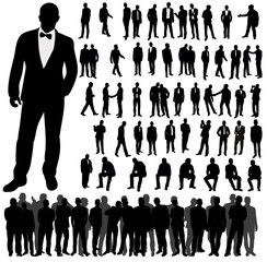 Vector, isolated, silhouette of man collection, set of silhouettes