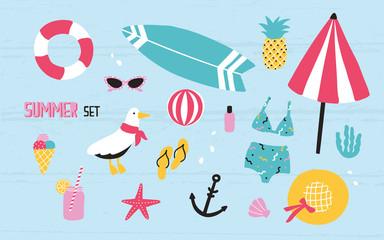 Colorful summer set with hand drawn elements pineapple, ice cream, seagull, surfboard, ball, swimwear, hat, beach umbrella, sunglasses, lifebuoy, starfish, drink, flip flops, anchor.