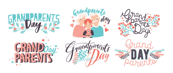 Grandparents day lettering. Different hand drawn colorful inscriptions with curly fonts and decor elements.